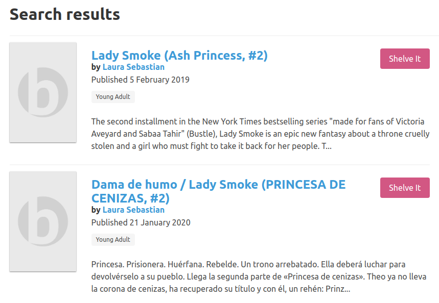 "Two search results for ""Lady Smoke"" -- one for the English edition and a second for the Spanish edition."