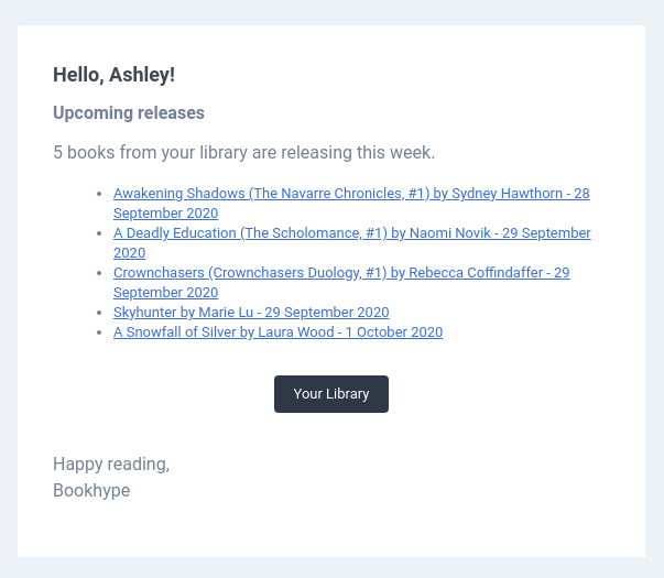 Email alert about new releases in your library