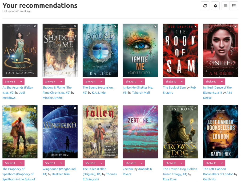 Grid of recommended books